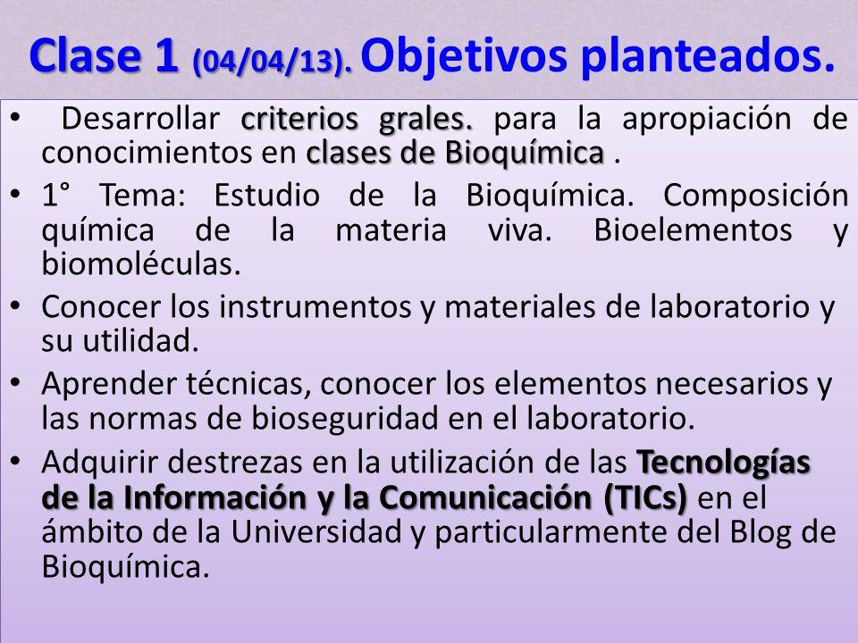 criterios grales. clases de Bioquímica Desarrollar criterios grales. para la apropiación de conocimientos en clases de Bioquímica. 1° Tema: Estudio de