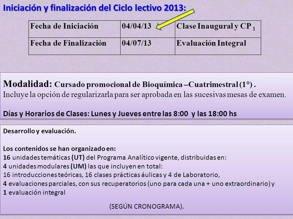 Fecha de Iniciación04/04/13Clase Inaugural y CP 1 Fecha de Finalización04/07/13Evaluación Integral Iniciación y finalización del Ciclo lectivo 2013: M