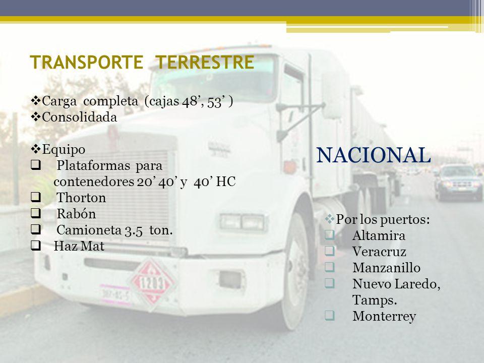 TRANSPORTE TERRESTRE Por los puertos: Altamira Veracruz Manzanillo Nuevo Laredo, Tamps. Monterrey NACIONAL Carga completa (cajas 48, 53 ) Consolidada