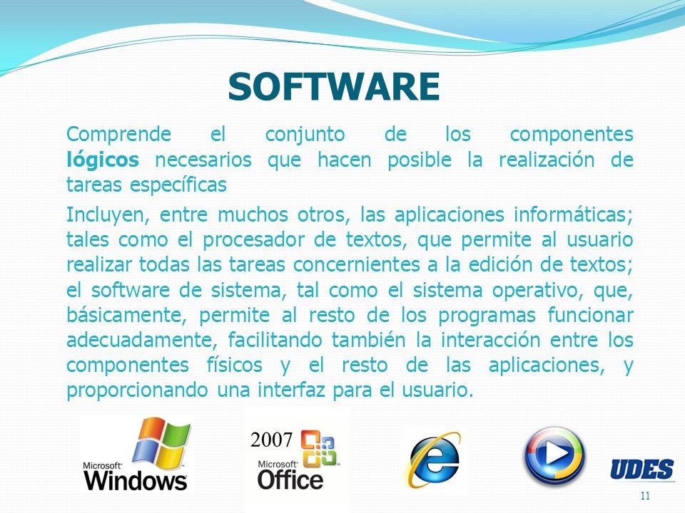 11 SOFTWARE Comprende el conjunto de los componentes lógicos necesarios que hacen posible la realización de tareas específicas Incluyen, entre muchos
