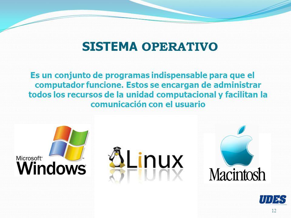 12 SISTEMA OPERATIVO Es un conjunto de programas indispensable para que el computador funcione.