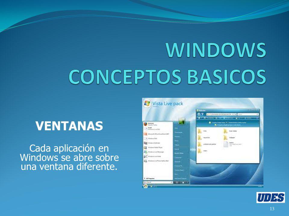 VENTANAS Cada aplicación en Windows se abre sobre una ventana diferente. 13