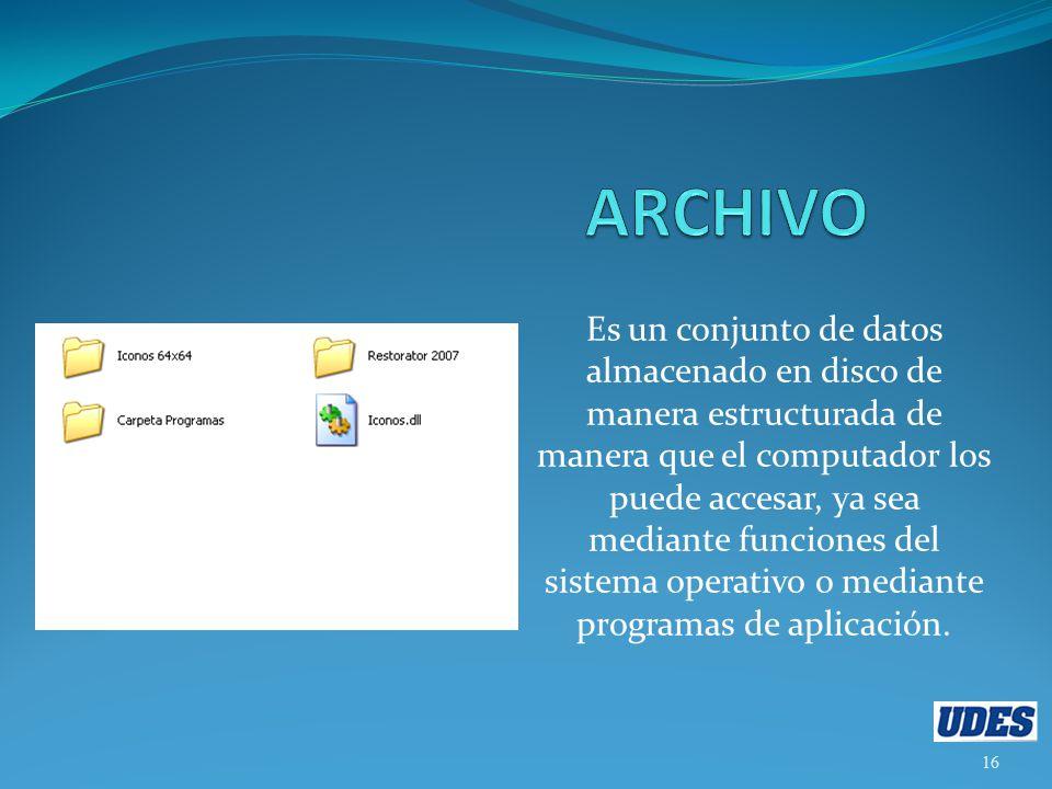 Es un conjunto de datos almacenado en disco de manera estructurada de manera que el computador los puede accesar, ya sea mediante funciones del sistema operativo o mediante programas de aplicación.