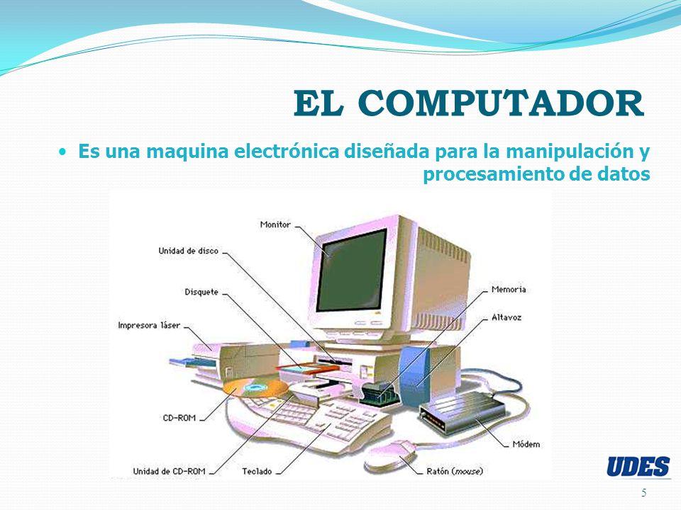 Es una maquina electrónica diseñada para la manipulación y procesamiento de datos 5 EL COMPUTADOR