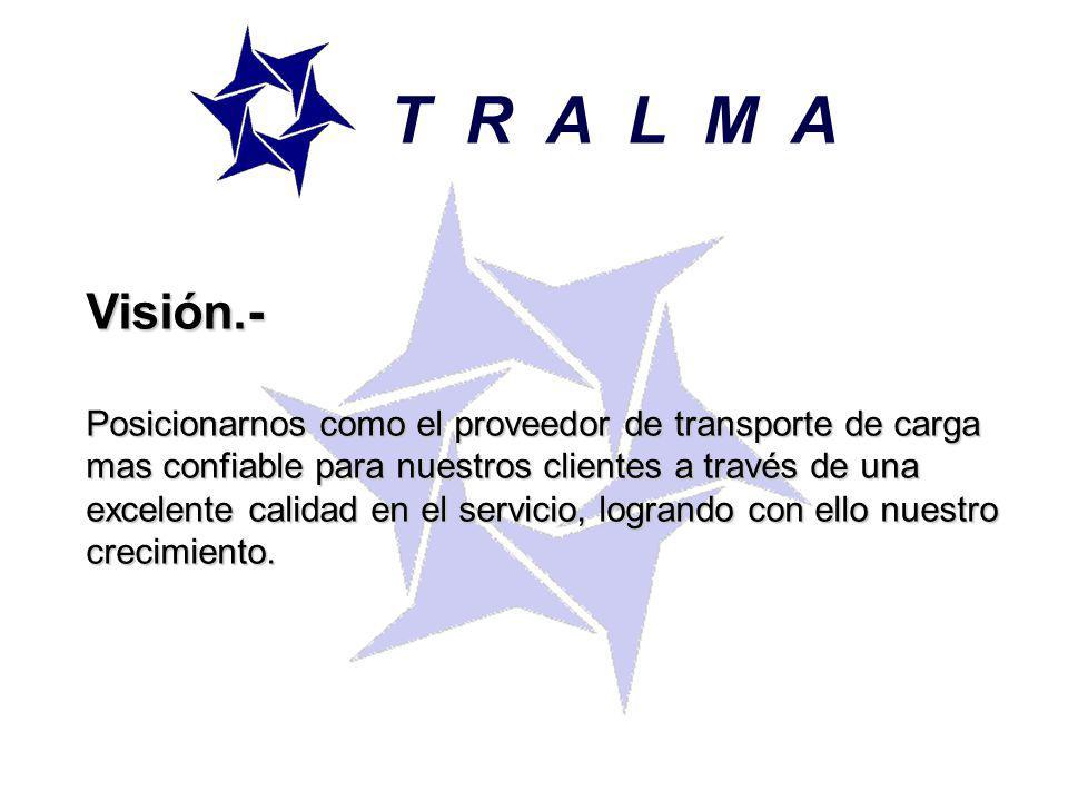 T R A L M A Visión.- Posicionarnos como el proveedor de transporte de carga mas confiable para nuestros clientes a través de una excelente calidad en el servicio, logrando con ello nuestro crecimiento.