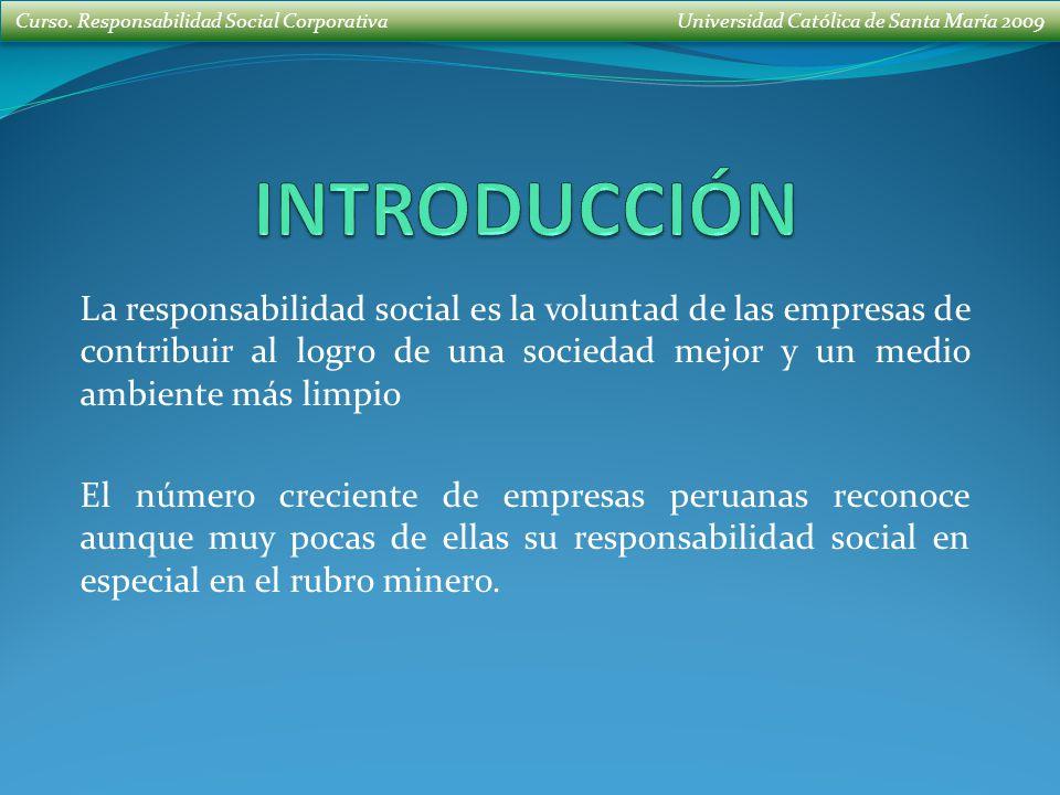 Curso. Responsabilidad Social Corporativa Universidad Católica de Santa María 2009 La responsabilidad social es la voluntad de las empresas de contrib