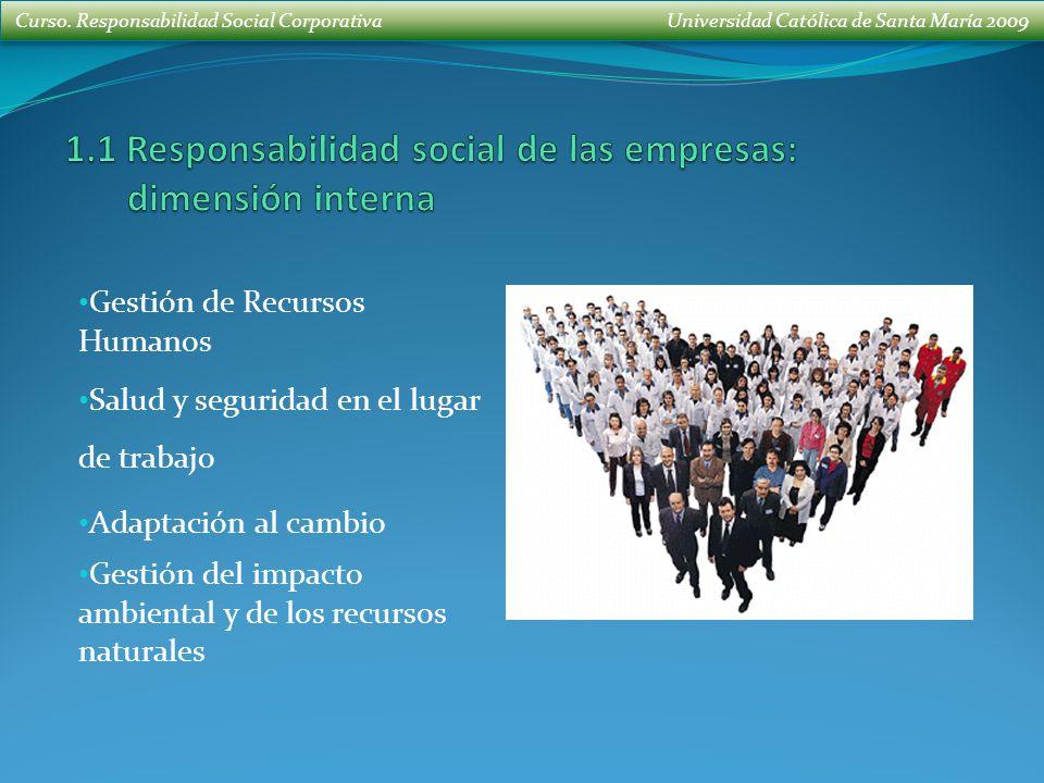 Curso. Responsabilidad Social Corporativa Universidad Católica de Santa María 2009 Gestión de Recursos Humanos Salud y seguridad en el lugar de trabaj
