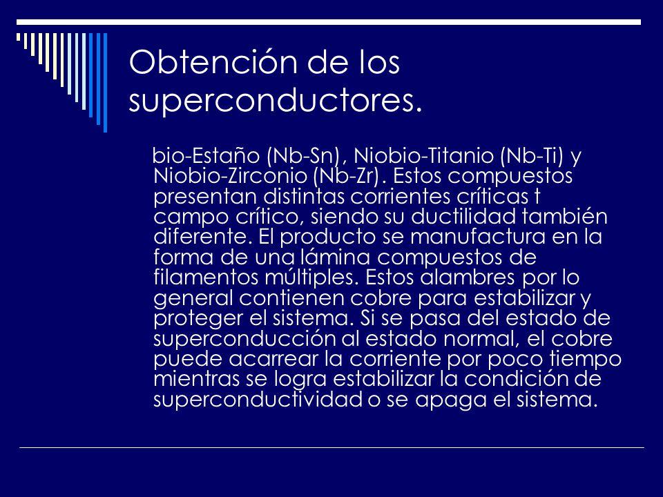 Obtención de los superconductores. bio-Estaño (Nb-Sn), Niobio-Titanio (Nb-Ti) y Niobio-Zirconio (Nb-Zr). Estos compuestos presentan distintas corrient