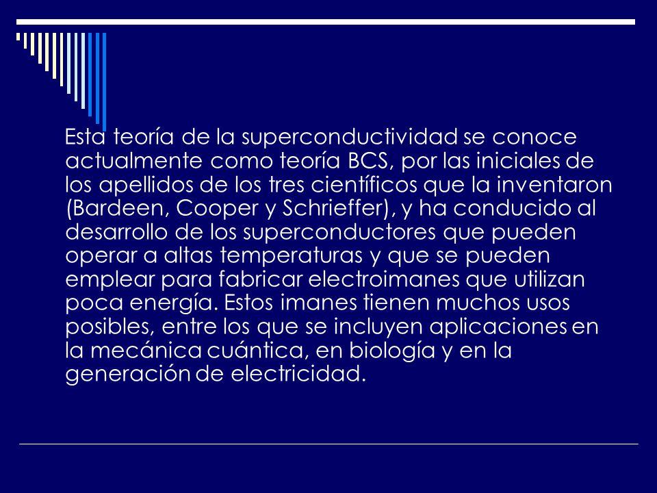 Esta teoría de la superconductividad se conoce actualmente como teoría BCS, por las iniciales de los apellidos de los tres científicos que la inventar