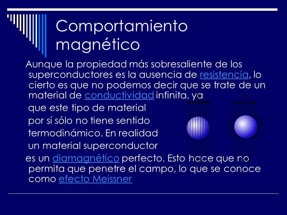 Comportamiento magnético Aunque la propiedad más sobresaliente de los superconductores es la ausencia de resistencia, lo cierto es que no podemos deci