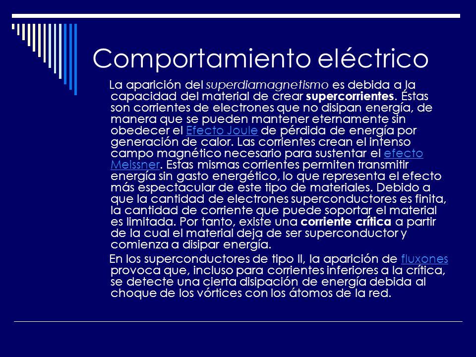 Comportamiento eléctrico La aparición del superdiamagnetismo es debida a la capacidad del material de crear supercorrientes. Éstas son corrientes de e