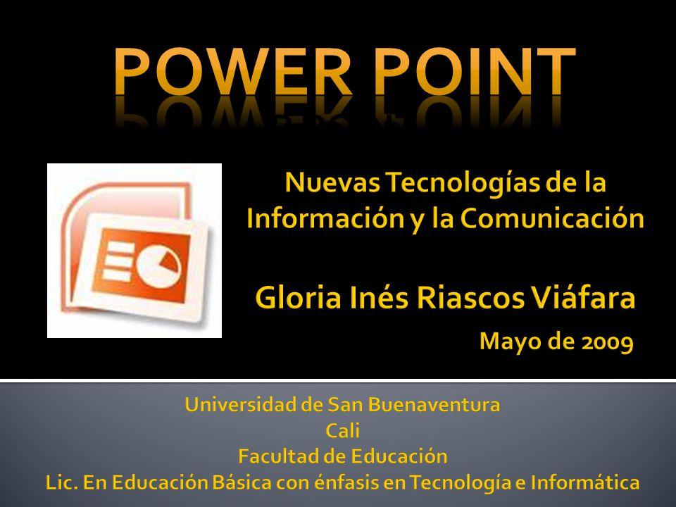 Qué es Power Point Cómo iniciar Power point Diseños de diapositivas Formatos de diapositivas Insertar imágenes y fotos Organizar una presentación Diseños especiales Esquemas y gráficos Efectos especiales