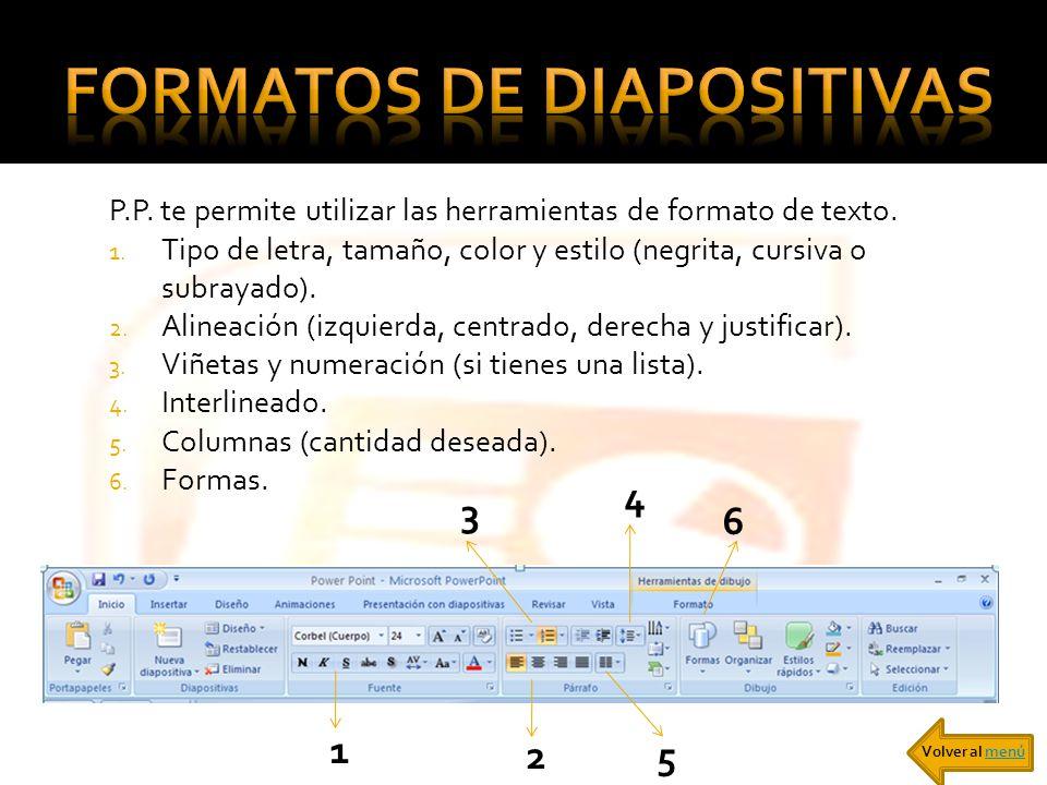 P.P. te permite utilizar las herramientas de formato de texto. 1. Tipo de letra, tamaño, color y estilo (negrita, cursiva o subrayado). 2. Alineación