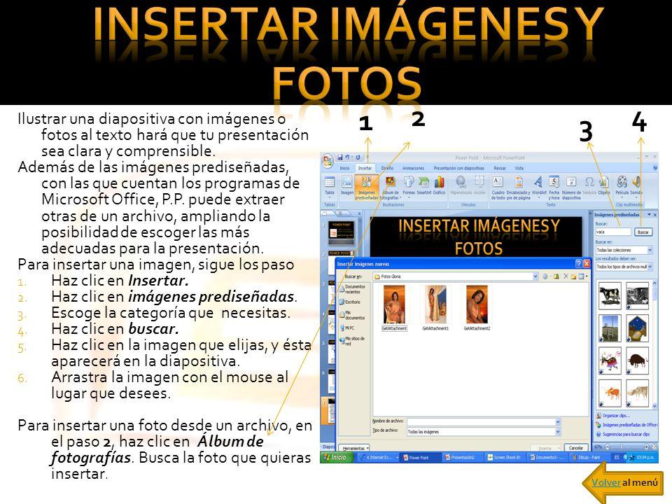 Ilustrar una diapositiva con imágenes o fotos al texto hará que tu presentación sea clara y comprensible. Además de las imágenes prediseñadas, con las