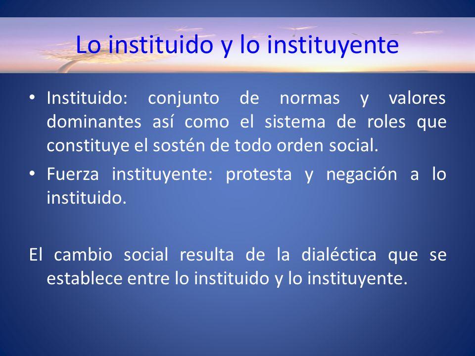 Lo instituido y lo instituyente Instituido: conjunto de normas y valores dominantes así como el sistema de roles que constituye el sostén de todo orden social.