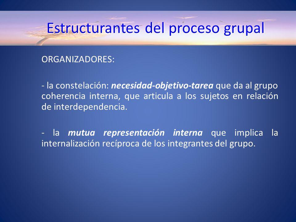 Estructurantes del proceso grupal ORGANIZADORES: - la constelación: necesidad-objetivo-tarea que da al grupo coherencia interna, que articula a los sujetos en relación de interdependencia.