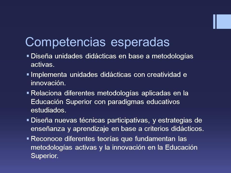 Competencias esperadas Diseña unidades didácticas en base a metodologías activas.