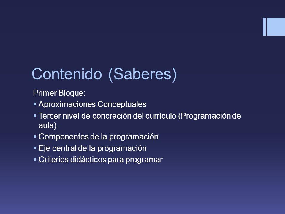 Contenido (Saberes) Primer Bloque: Aproximaciones Conceptuales Tercer nivel de concreción del currículo (Programación de aula).