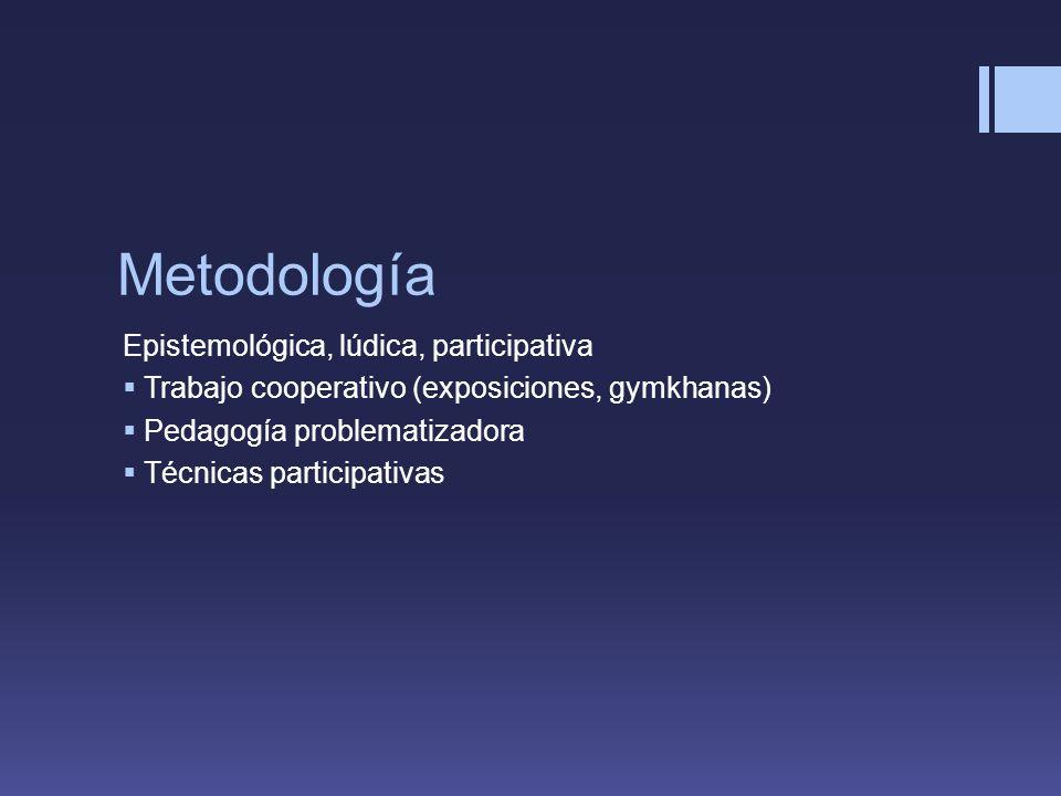 Metodología Epistemológica, lúdica, participativa Trabajo cooperativo (exposiciones, gymkhanas) Pedagogía problematizadora Técnicas participativas
