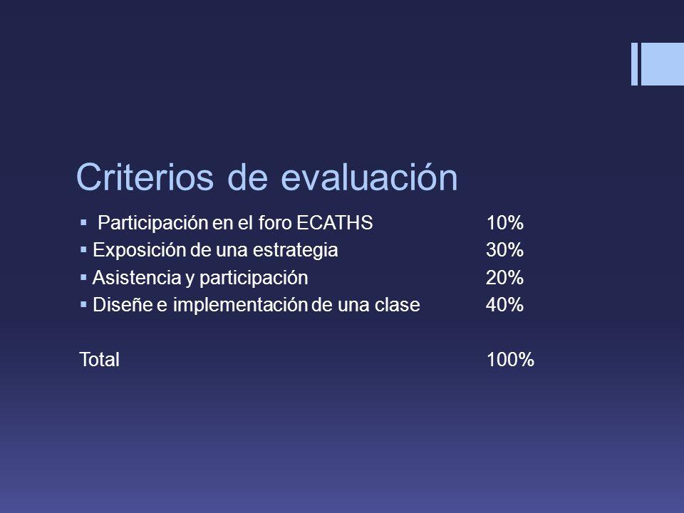 Criterios de evaluación Participación en el foro ECATHS10% Exposición de una estrategia 30% Asistencia y participación20% Diseñe e implementación de una clase40% Total100%