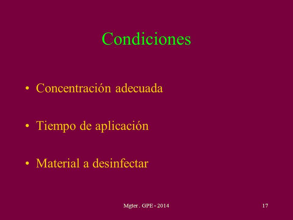 Condiciones Concentración adecuada Tiempo de aplicación Material a desinfectar 17Mgter. GPE - 2014