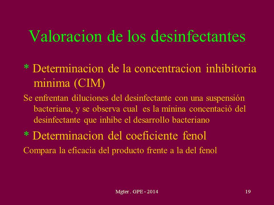 Valoracion de los desinfectantes * Determinacion de la concentracion inhibitoria minima (CIM) Se enfrentan diluciones del desinfectante con una suspen