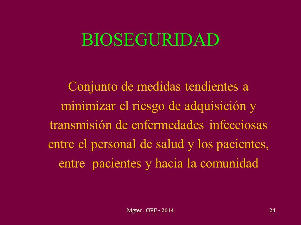 BIOSEGURIDAD Conjunto de medidas tendientes a minimizar el riesgo de adquisición y transmisión de enfermedades infecciosas entre el personal de salud