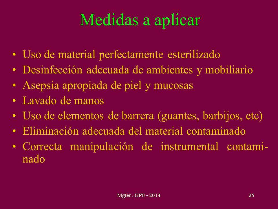 Medidas a aplicar Uso de material perfectamente esterilizado Desinfección adecuada de ambientes y mobiliario Asepsia apropiada de piel y mucosas Lavad