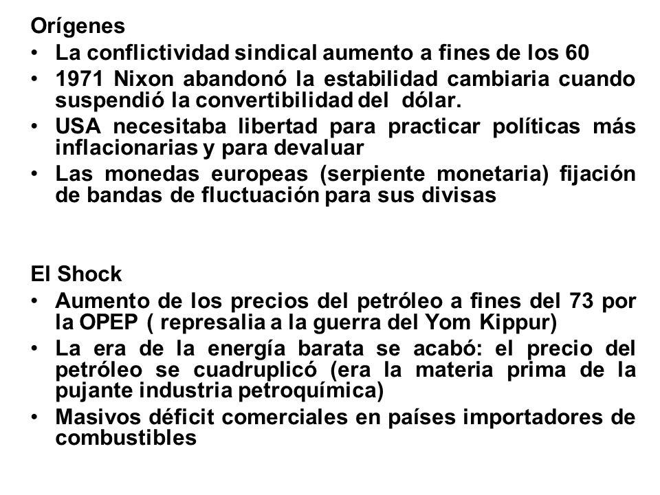 Orígenes La conflictividad sindical aumento a fines de los 60 1971 Nixon abandonó la estabilidad cambiaria cuando suspendió la convertibilidad del dól