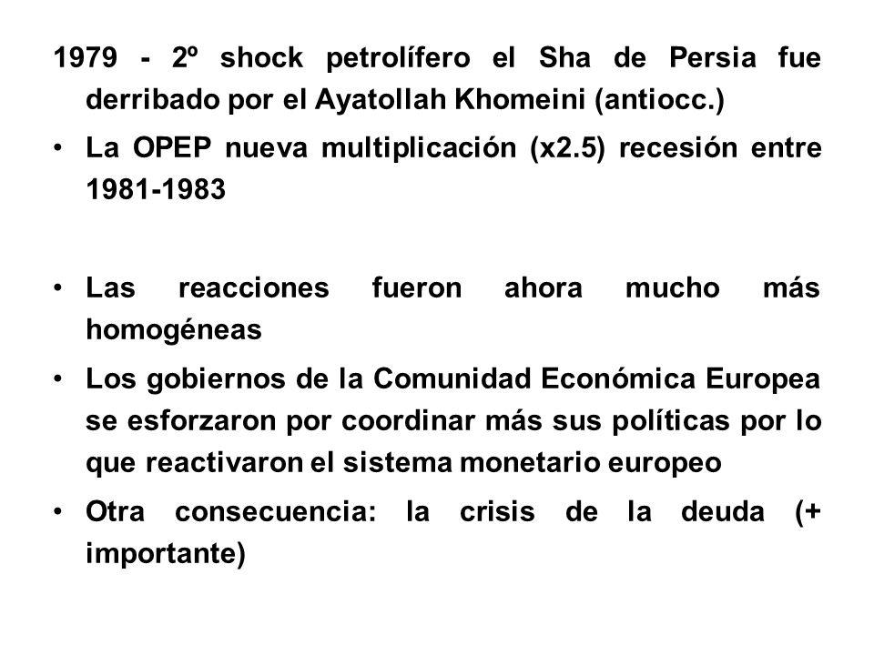 1979 - 2º shock petrolífero el Sha de Persia fue derribado por el Ayatollah Khomeini (antiocc.) La OPEP nueva multiplicación (x2.5) recesión entre 1981-1983 Las reacciones fueron ahora mucho más homogéneas Los gobiernos de la Comunidad Económica Europea se esforzaron por coordinar más sus políticas por lo que reactivaron el sistema monetario europeo Otra consecuencia: la crisis de la deuda (+ importante)