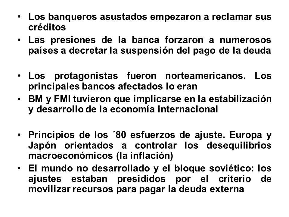 Los banqueros asustados empezaron a reclamar sus créditos Las presiones de la banca forzaron a numerosos países a decretar la suspensión del pago de l