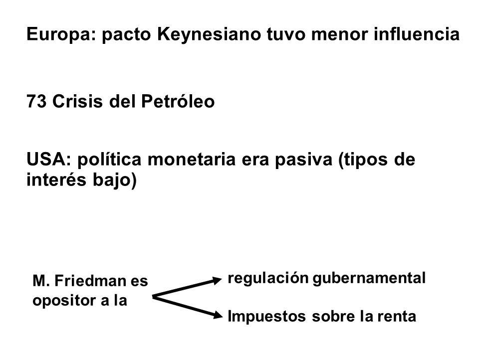 Europa: pacto Keynesiano tuvo menor influencia 73 Crisis del Petróleo USA: política monetaria era pasiva (tipos de interés bajo) M. Friedman es oposit