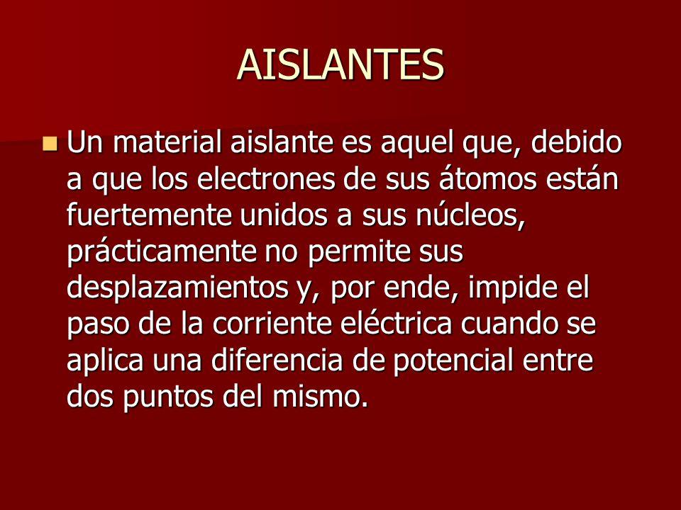AISLANTES Un material aislante es aquel que, debido a que los electrones de sus átomos están fuertemente unidos a sus núcleos, prácticamente no permit