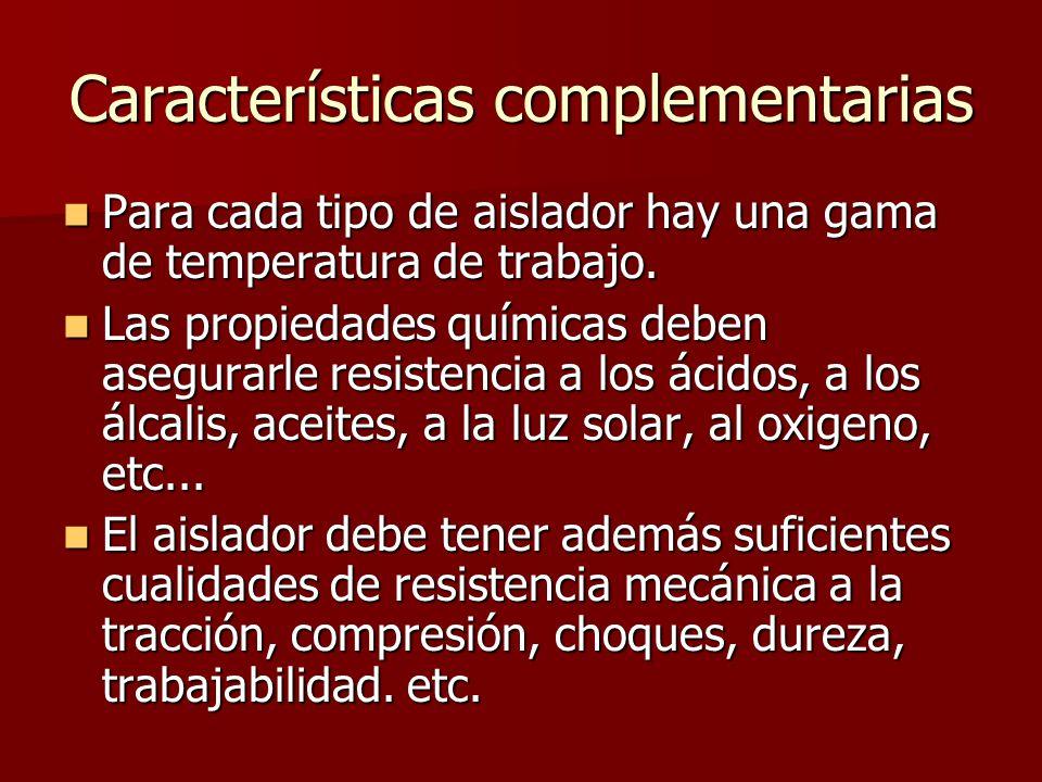 Características complementarias Para cada tipo de aislador hay una gama de temperatura de trabajo. Para cada tipo de aislador hay una gama de temperat