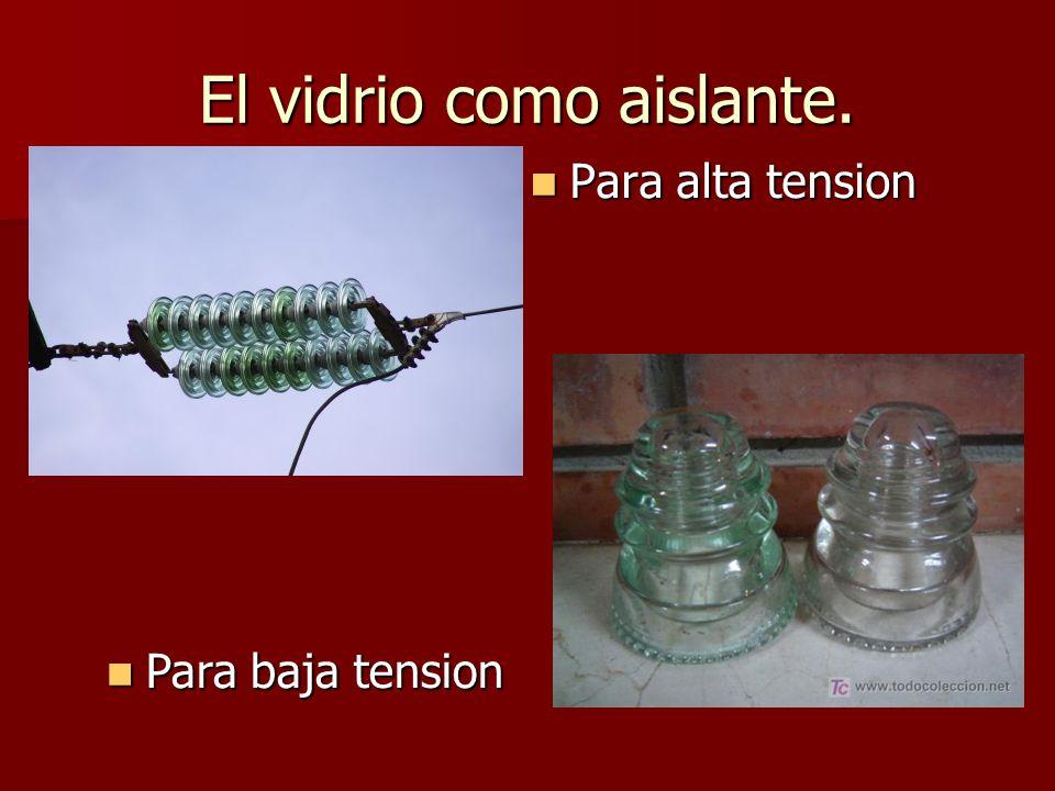 El vidrio como aislante. Para alta tension Para alta tension Para baja tension Para baja tension