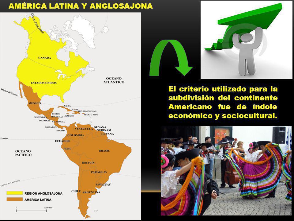 AMÉRICA LATINA Y ANGLOSAJONA El criterio utilizado para la subdivisión del continente Americano fue de índole económico y sociocultural.
