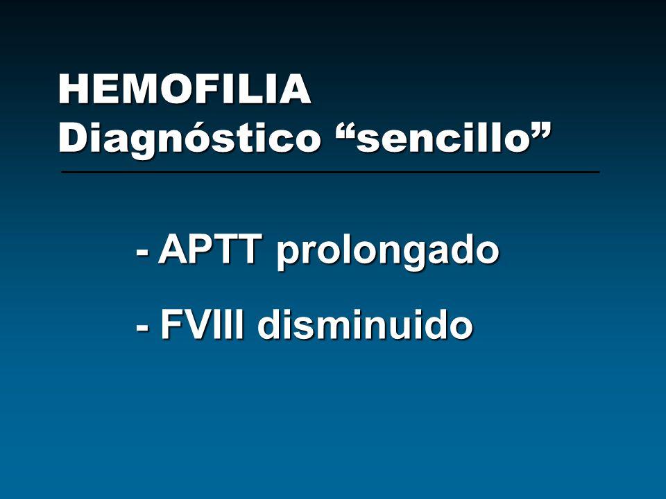 HEMOFILIA Diagnóstico sencillo - APTT prolongado - FVIII disminuido