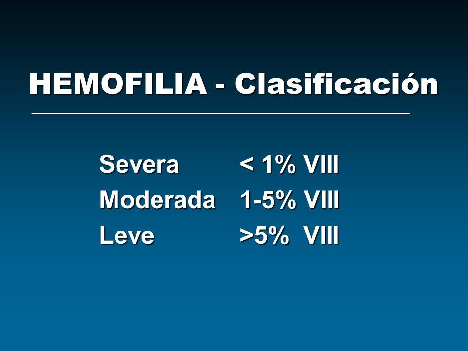 HEMOFILIA - Clasificación Severa< 1% VIII Moderada1-5% VIII Leve>5% VIII