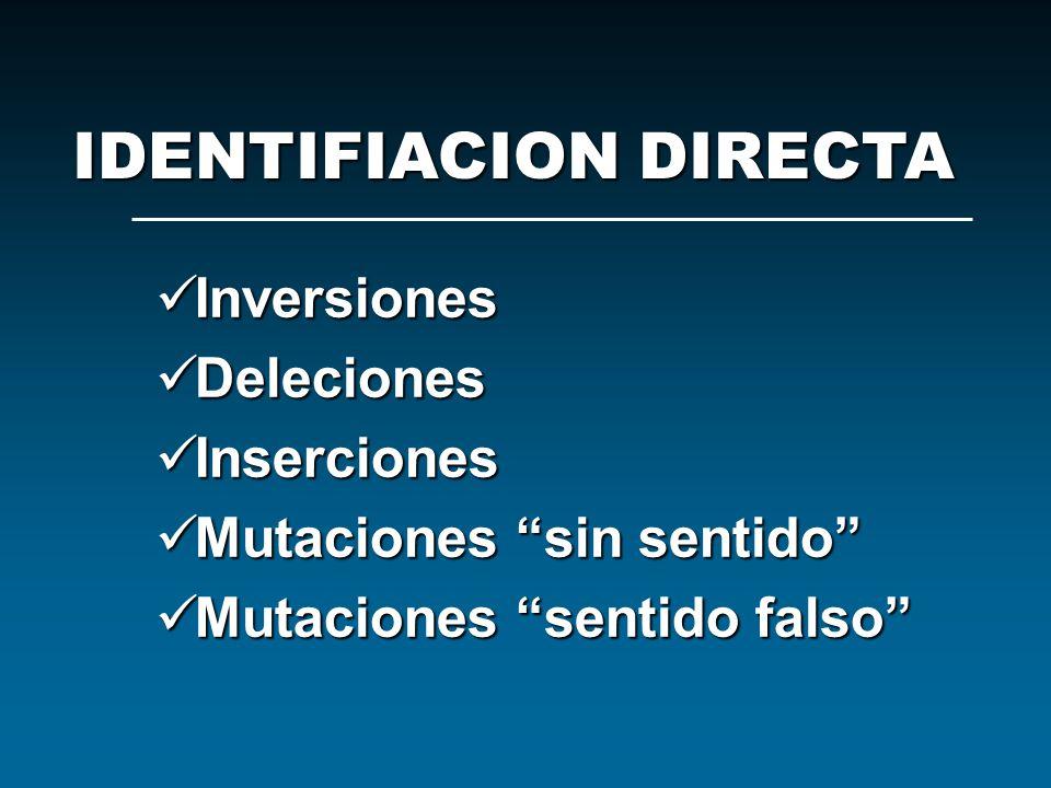 Inversiones Inversiones Deleciones Deleciones Inserciones Inserciones Mutaciones sin sentido Mutaciones sin sentido Mutaciones sentido falso Mutacione
