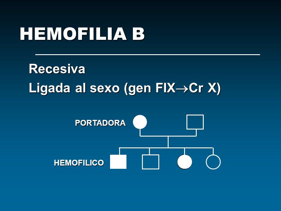 Recesiva Ligada al sexo (gen FIX Cr X) PORTADORA HEMOFILIA B HEMOFILICO