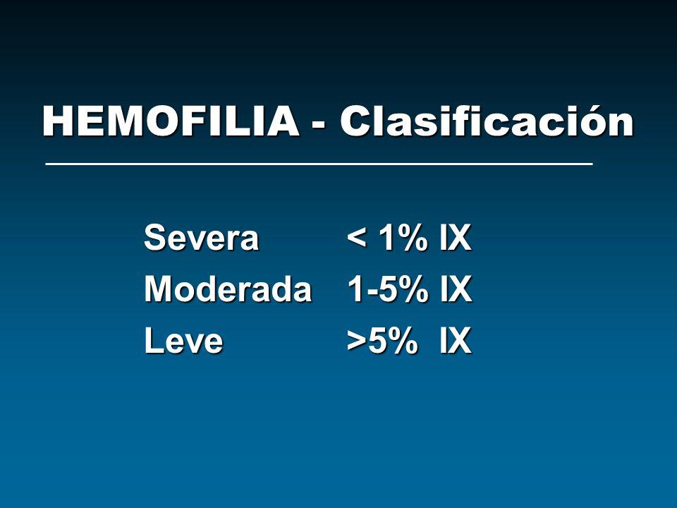 HEMOFILIA - Clasificación Severa< 1% IX Moderada1-5% IX Leve>5% IX