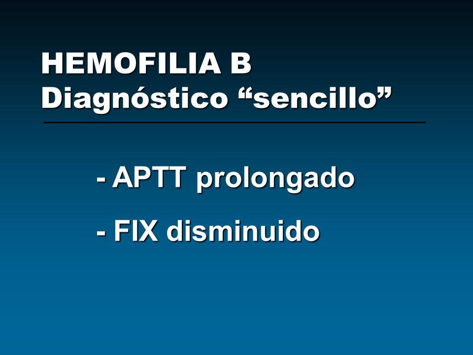HEMOFILIA B Diagnóstico sencillo - APTT prolongado - FIX disminuido