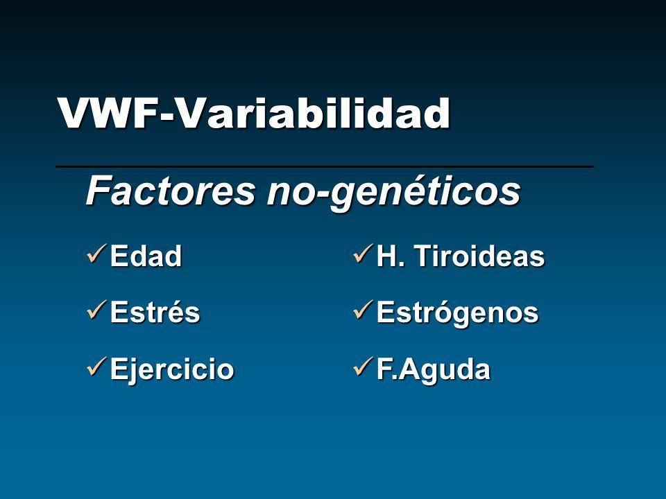 VWF-Variabilidad Factores no-genéticos Edad Edad Estrés Estrés Ejercicio Ejercicio H. Tiroideas H. Tiroideas Estrógenos Estrógenos F.Aguda F.Aguda