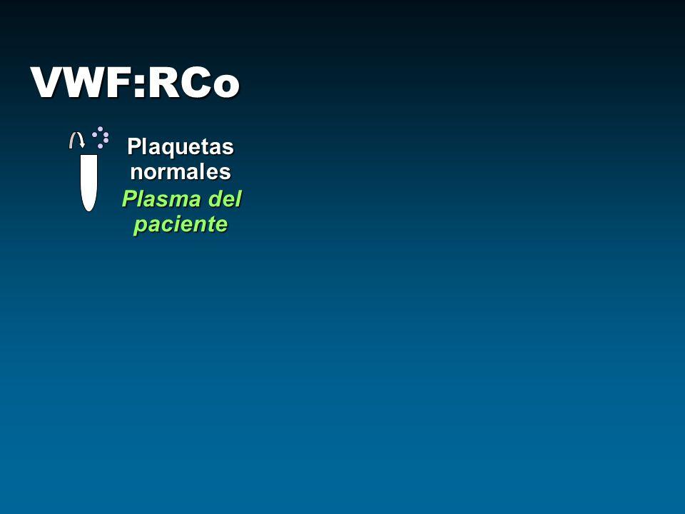 VWF:RCo Plasma del paciente Plaquetasnormales