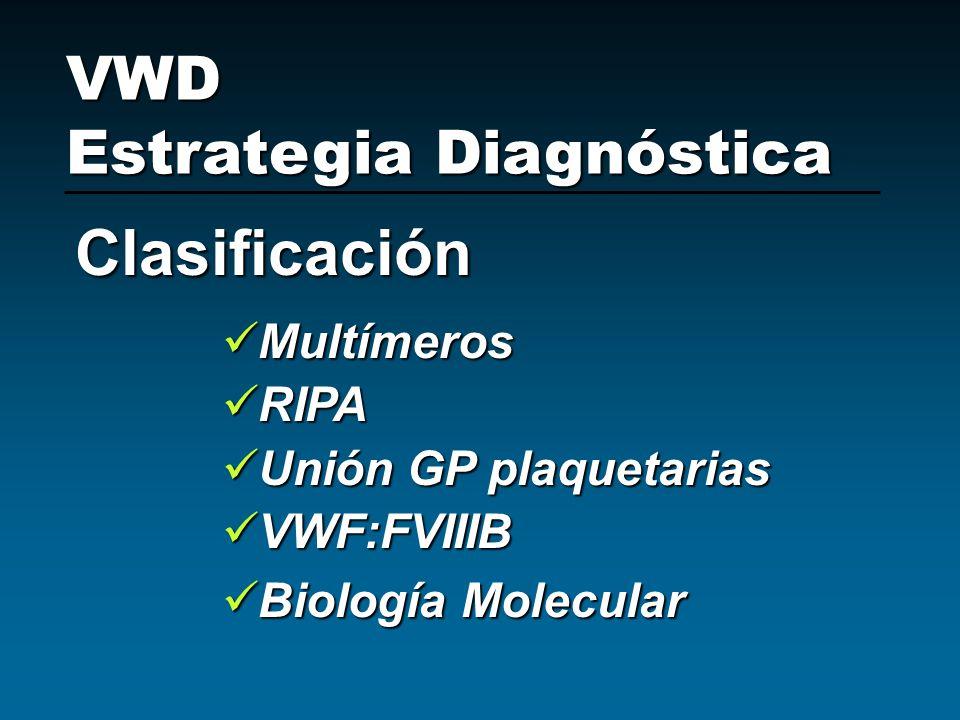 Multímeros Multímeros RIPA RIPA Unión GP plaquetarias Unión GP plaquetarias VWF:FVIIIB VWF:FVIIIB Biología Molecular Biología Molecular VWD Estrategia