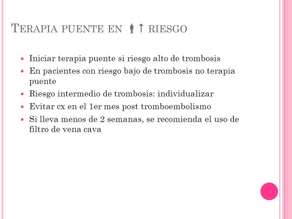 T ERAPIA PUENTE EN RIESGO Iniciar terapia puente si riesgo alto de trombosis En pacientes con riesgo bajo de trombosis no terapia puente Riesgo interm