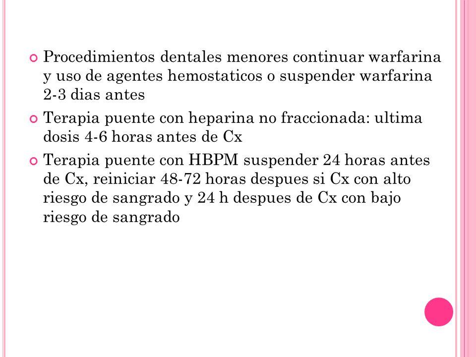 Procedimientos dentales menores continuar warfarina y uso de agentes hemostaticos o suspender warfarina 2-3 dias antes Terapia puente con heparina no