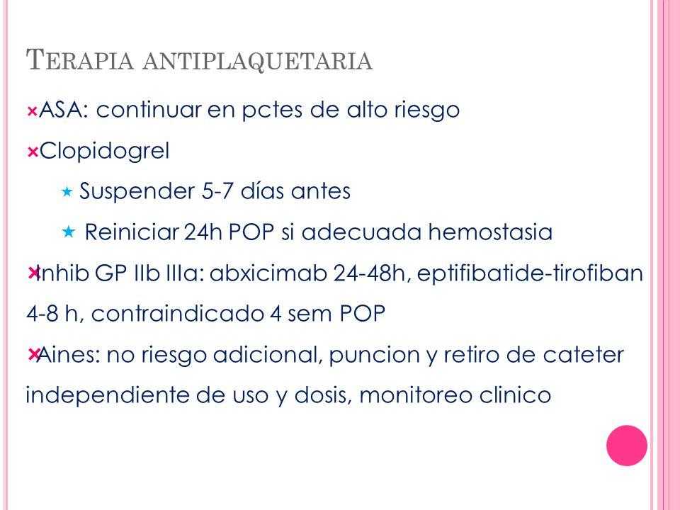 T ERAPIA ANTIPLAQUETARIA ASA: continuar en pctes de alto riesgo Clopidogrel Suspender 5-7 días antes Reiniciar 24h POP si adecuada hemostasia Inhib GP
