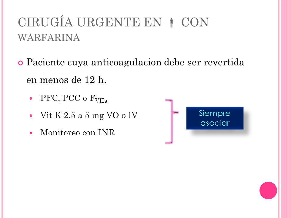 CIRUGÍA URGENTE EN CON WARFARINA Paciente cuya anticoagulacion debe ser revertida en menos de 12 h. PFC, PCC o F VIIa Vit K 2.5 a 5 mg VO o IV Monitor