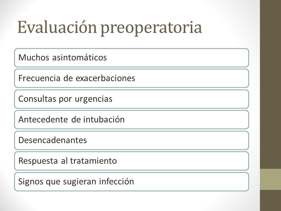 Evaluación preoperatoria Muchos asintomáticosFrecuencia de exacerbacionesConsultas por urgenciasAntecedente de intubaciónDesencadenantesRespuesta al t